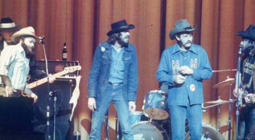"L to R: The late B.W. ""Buckwheat"" Stevenson, the late Rusty Wier, Steven Fromholz and Ray Wylie Hubbard -- back in the ""Progressive Country"" days."
