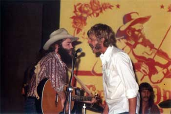 """L to R - Two young Outlaws: B.W. """"Buckwheat"""" Stevenson and Steven Fromholz teaming up on a barn burner of a song!"""