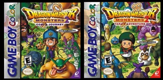 Box covers for both versions of Dragon Quest Monsters II (released in North America as Dragon Warrior Monsters II). Each version has minor differences in storyline and monster appearances in each plot-critical world.