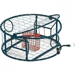 A high end crab trap by Protoco. Note the inclined ramps leading to the doors, easy access top hatch, round design, and included bait box. This ones got it all!