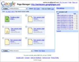 Google Page Creator Screen