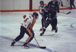 1986 Bramalea Blues Hockey action, Pentax ME-Super, 200 mm lens.