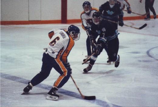 1986 Bramalea Blues Hockey action, Pentax ME-Super, 200 mm lens.