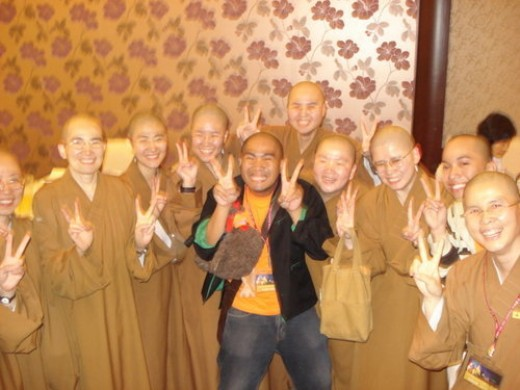 The Monks doing the Jingle Pose