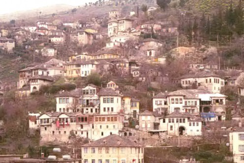 Gjirokastra's medieval houses dot the hillside.
