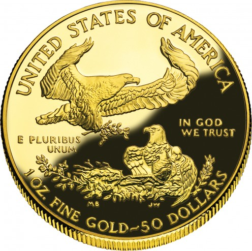 The reverse side of the American Golden Eagle Gold coin.