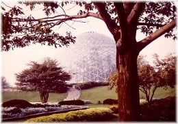 Another outside view of one of the domes and landscaping outside of the domes.
