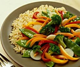 Homemade stir fry with rice