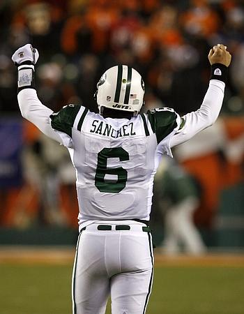 and the rookie Mark Sanchez celebrates after the win! Photo Credits: Rueters