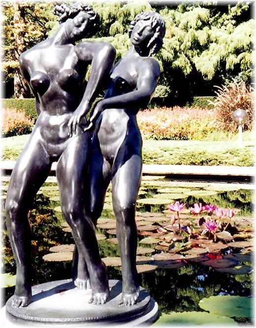 Numerous sculptures in the Missouri Botanical Garden