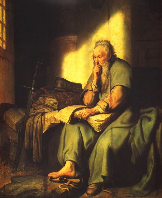 1661 REMBRANDT PAINTING OF PAUL THE APOSTLE IN ROMAN PRISON