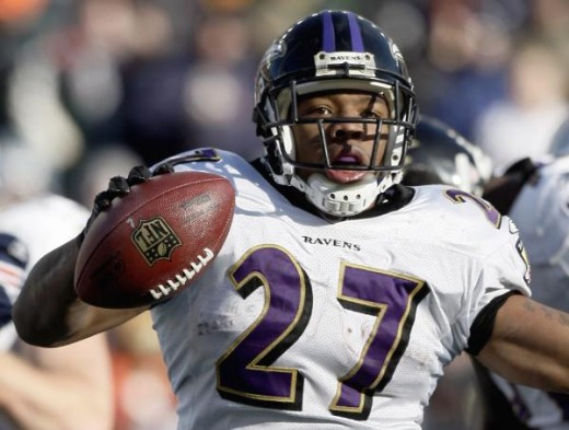 Baltimore Ravens running back Ray Rice (27) celebrates after scoring his second touchdown in the first quarter of an NFL wild-card playoff football game against the New England Patriots in Foxborough, Mass., Sunday, Jan. 10, 2010. (AP Photo/Winslow T