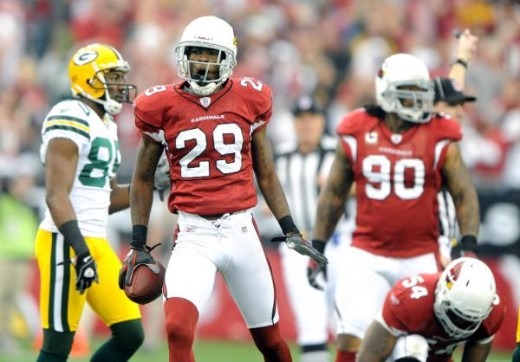 Arizona Cardinals cornerback Dominique Rodgers-Cromartie (29) celebrates after intercepting a pass against the Green Bay Packers at University of Phoenix Stadium in Glendale, Arizona on January 10, 2010. (Kirby Lee/NFL.com)