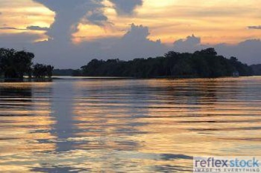 The glittering water of Amazon during sunset