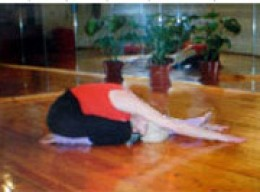 child pose as a counter move to the pelvic thrust above. It clearly bends the spine in the opposite direction..