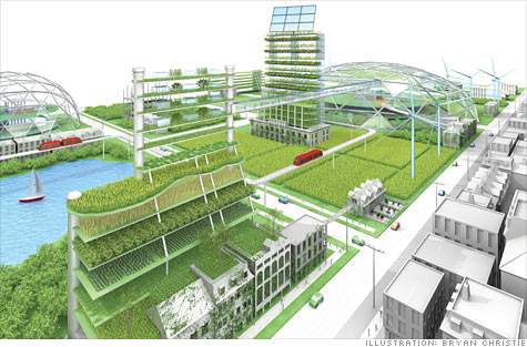 artist rendering of re-purposing land in Detroit Michigan - new advanced farming