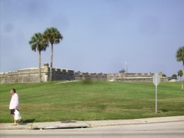 Castillo de San Marcos - The Old Spanish Fort overlooking bay in St Augustine, Florida