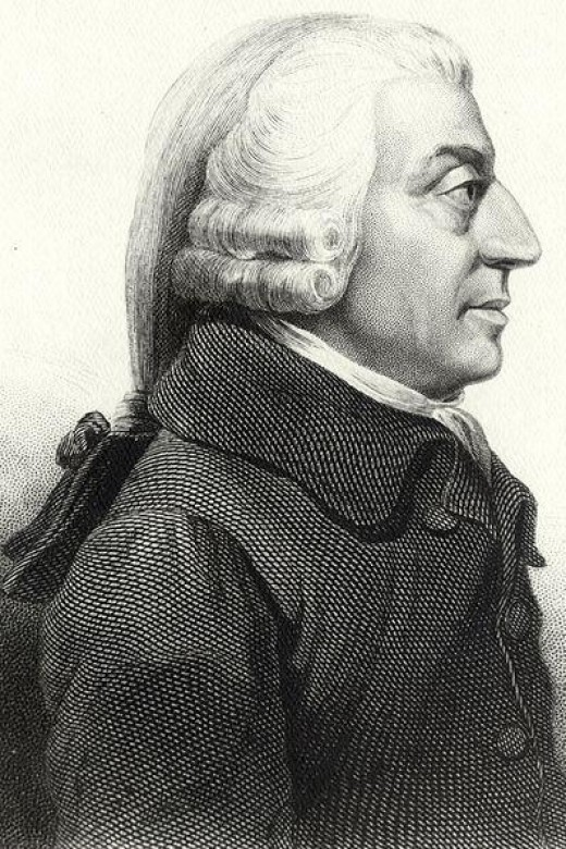 Adam Smith the Father of Modern Economics (public domain image courtesy of WikiPedia.org  http://en.wikipedia.org/wiki/File:AdamSmith.jpg  )