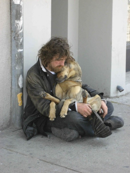 Homeless man with pet dog