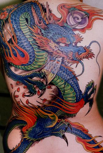 Popular Dragon Tattoo art.    Image taken from http://www.tattoosymbol.com copyright 2010.