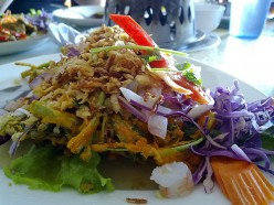 Thai Spicy Tempura Fried Morning Glory Salad
