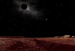 What the earth would look like from the moon during an eclipse as painted by French artist and astronomer Lucien Rudaux. Image from Wikipedia