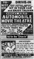 Advertisement for the first drive-in