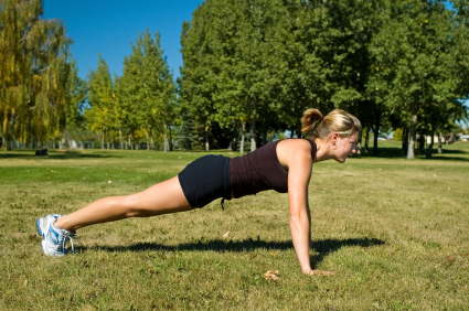 Starting position of a push up.