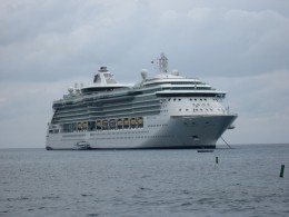 Royal Caribbean Cruise Line's Jewel of the Seas at anchor in Georgetown Harbor