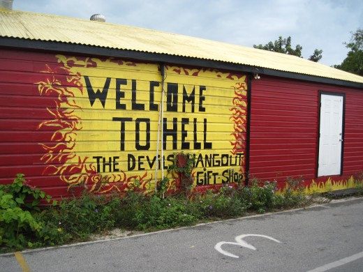 Sign on building in Hell