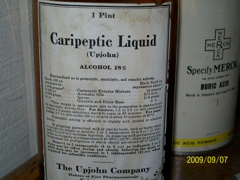Caripeptic for a 'sour stomach'.  Wonder what it tasted like?  Not cherry, even with the aromatic oils added.