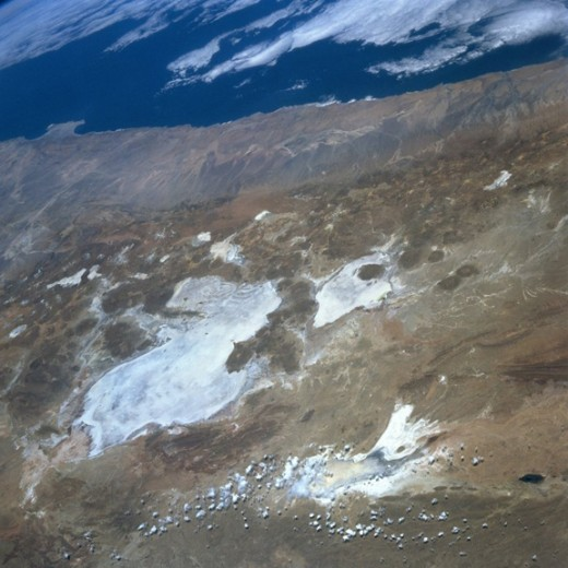 Shot of desert from space shuttle