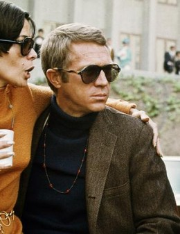 Turtleneck with sport coat and Persol sunglasses