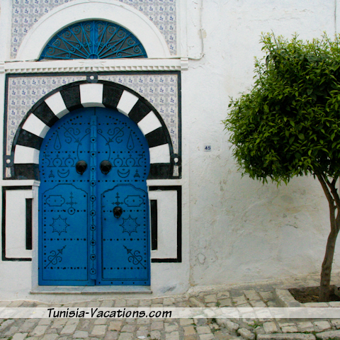 A typical doorway of Sidi Bou Said