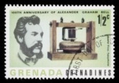 Alexander Graham Bell with the first telephone invented.