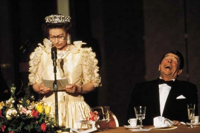 Queen Elizabeth with Ronald Reagan