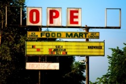 """When I saw this sign, my first thought was """"hope"""". I realized a moment later that it was meant to say """"open"""", but was delighted by the fact that my mind still searches for hope."""