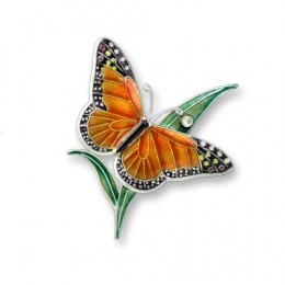 Clearly Charming Monarch Butterfly Sterling Silver and Enamel Pin by Zarah