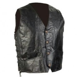 Genuine Leather Biker Vest by Diamond Plate