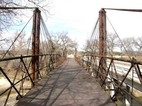 """Suspension or """"cable stayed"""" bridge in BluffDale, Tx. There used to be a few of these."""