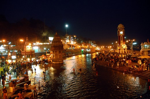 City of haridwar is glittering with lights of diya