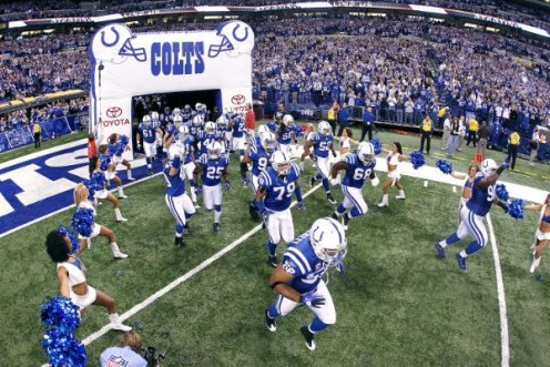 The Indianapolis Colts take the field before playing against the Baltimore Ravens at Lucas Oil Field in Indianapolis, Indiana on January 16, 2010. (Joe Robbins/NFL.com)