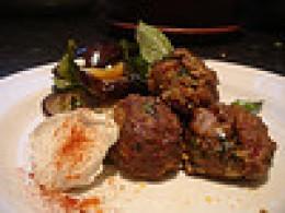 lamb meatballs and abergines