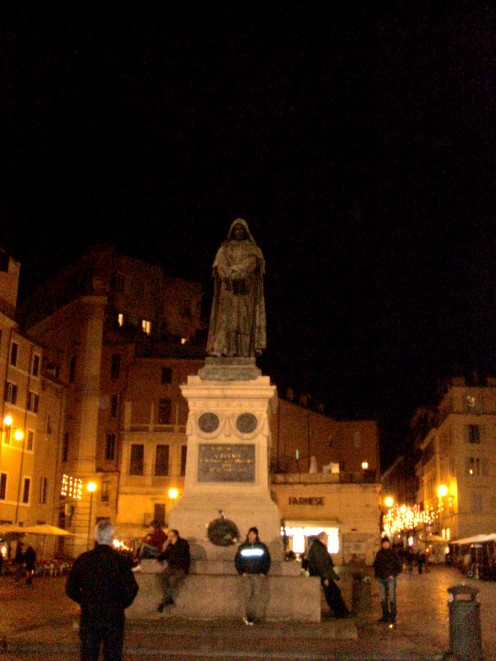 The Statue of Giordano Bruno was erected in the exact place of his execution in 1600.