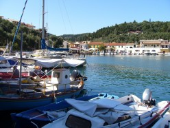 A photo of the harbor at Paxos, a Greek island.