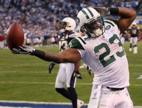 Shon Greene celebrates after his fourth quarter TD that sealed the win for the Jets.