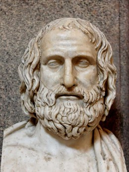 Marble bust of Euripides is a Roman copy after a Greek original from ca. 330 BC.