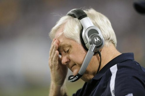 Head coach Wade Phillips of the Dallas Cowboys looks on during the closing moments of a 34-3 divisional playoff loss to the Minnesota Vikings at Mall of America Field at the Hubert H. Humphrey Metrodome on January 17, 2010 in Minneapolis, Minnesota.