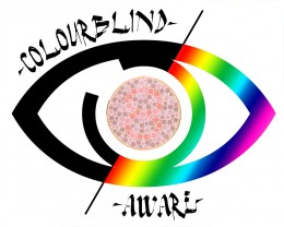 My design for a colour-blind awareness logo. If you have a shop or similar, print it and display it for support.