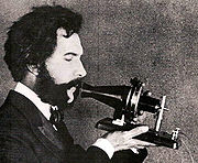 Protype of the telephone by Bell   Source:Alexandergrahambell.org